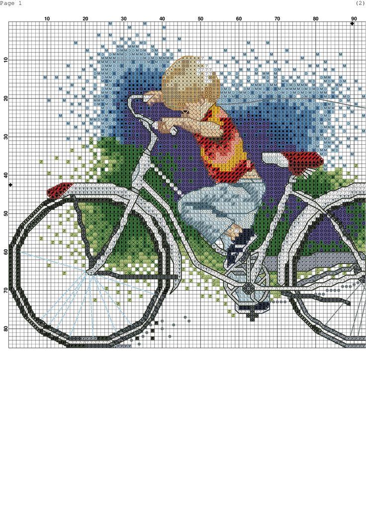 Niño en bicicleta. Punto de cruz.
