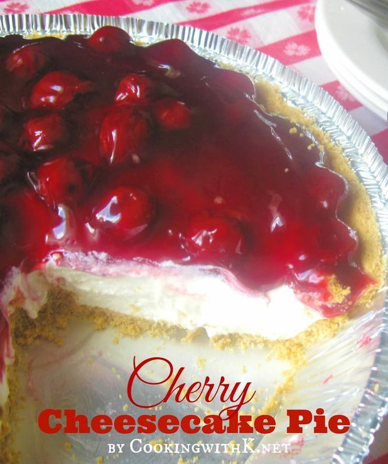 """Cherry Cheesecake Pie introduced in the 1950's when two products, Philadelphia Cream Cheese and Eagle Brand Milk, came together, to create a pie known then as the """"Cherry-O Cheese Pie"""". Over the years, the name has changed from No-Bake Cherry Cheesecake Pie, Cherry Cream Cheese Pie, and what I know it as today, Cherry Cheesecake Pie. One thing hasn't changed, and that is the ingredients--graham crust, cream cheese, condensed milk, lemon juice, vanilla, and cherry pie filling."""