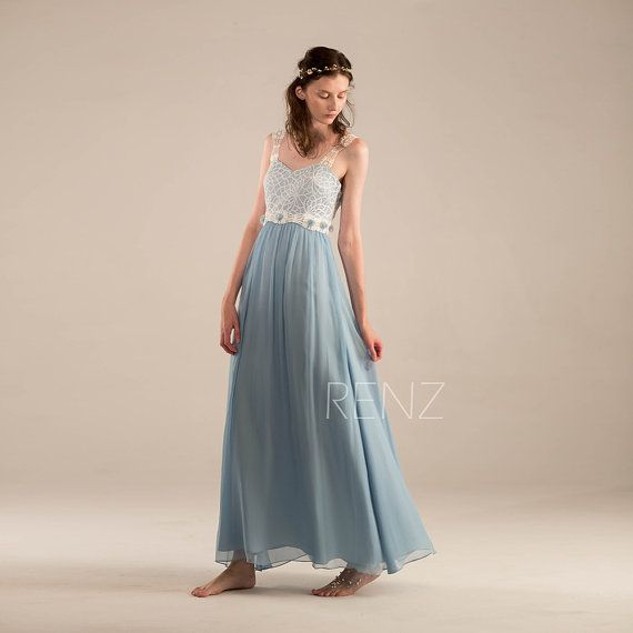 2015 Steel Blue Bridesmaid dress, Baby Blue Long Wedding dress,Lace Straps Belt Party dress, Evening gown, Prom dress Floor Length (F211)