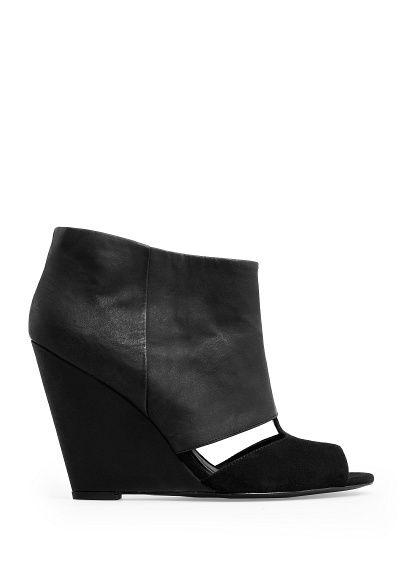MANGO - Botines cuña peep-toe / wedge peep toe boots . Love these!!!!