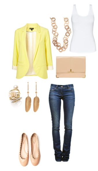 I am opting for laid back, or casual, business attire. I'm a fan and this look sings to me. That's right, it doesn't speak it sings! The yellow blazer makes a beautiful backdrop for the golden and nude tones in the jewelry, I'm particularly fond of the stackable rings in this look. I also like the feathing on the earrings and the look of the necklace. Add a basic nude flat and a nude envelope clutch and you're right on the money. This look is perfection!