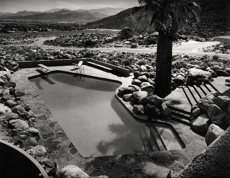 The Pool at the Edris House, Palm Springs, California, designed by E. Stewart Williams. Photo Julius Shulman, 1953.