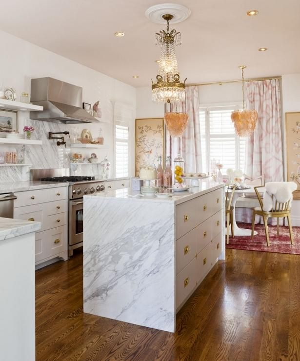 Meredith Heron Design: Incredible eclectic L-shaped kitchen design with marble topped waterfall edge island ...