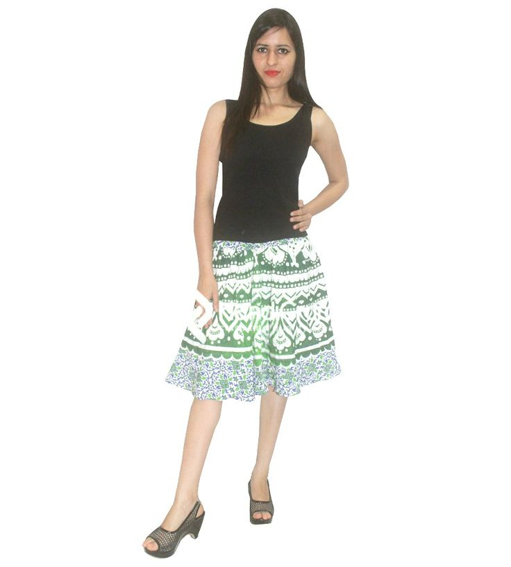 Girls white and green color printed skirt for daily use
