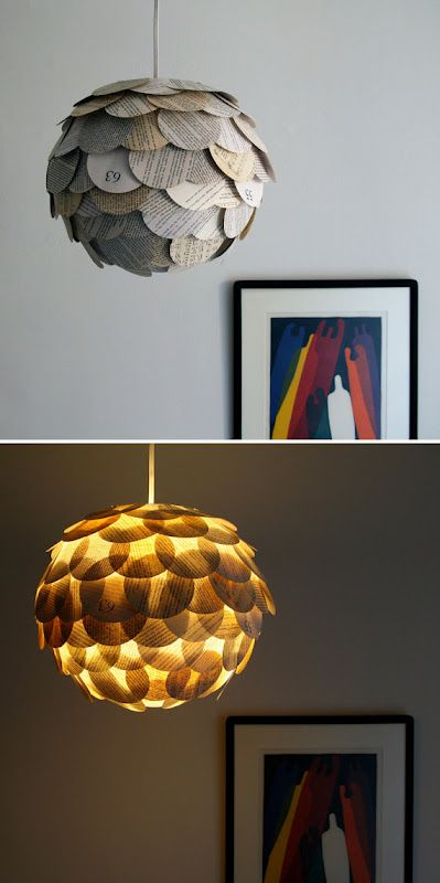 Zipper 8 Lighting - made from maps, book pages, drinking straws, old recycled plastic bags...