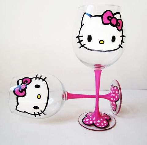 set of 2 hello kitty wine glasses - pink stem - polka dot base - 20 oz