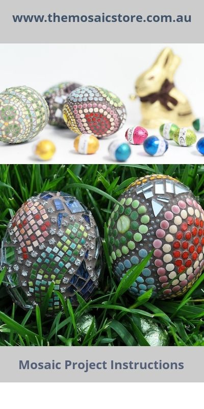 Learn how to create these Mosaic Easter Eggs with our project instructions. The project uses styrofoam eggs, small tiles, mirrors and rhinestone chain to create easter eggs with a difference. www.themosaicstore.com.au