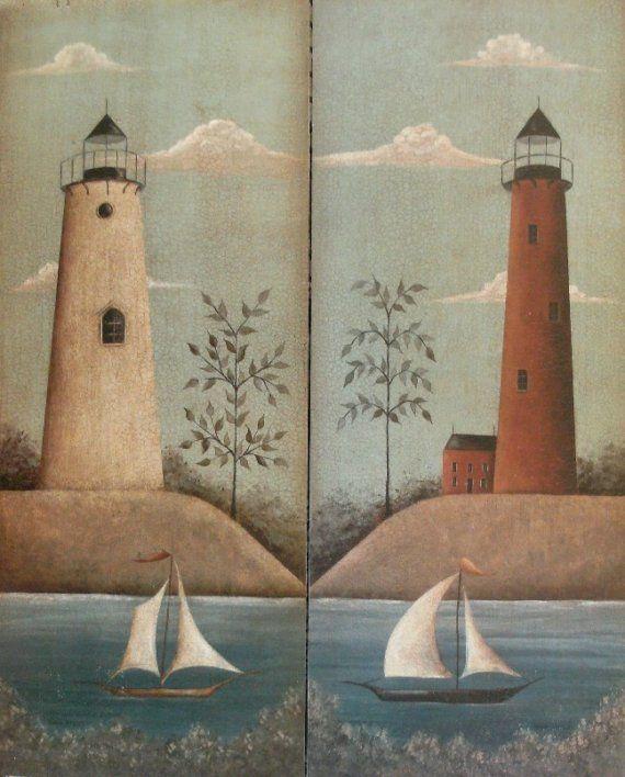 Nautical Folk Art LIGHTHOUSE Print by Donna Atkins, you choose the one you'd like