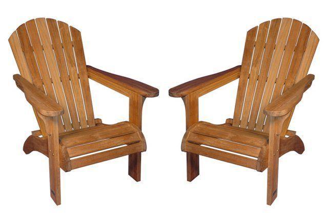 S/2 Teak Adirondack Chairs
