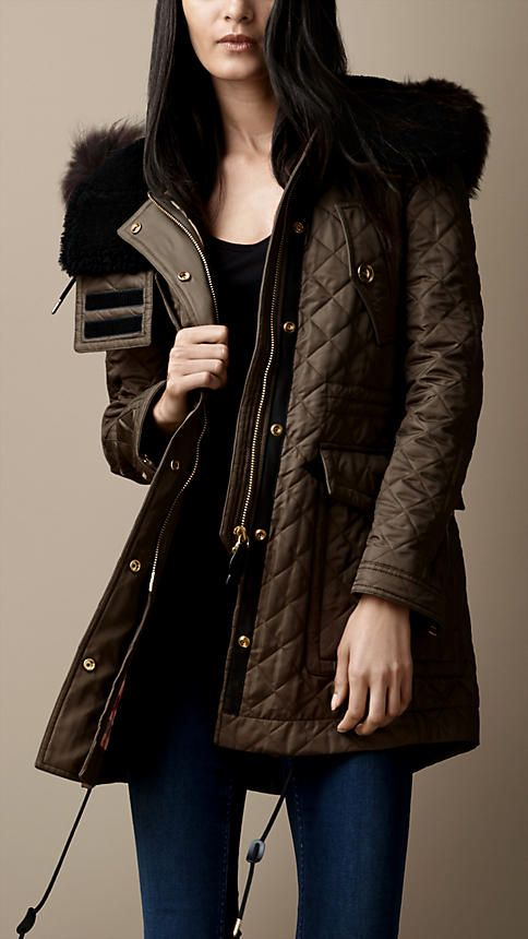 Quilted Fur Trim Parka   Burberry..cause I have no chill