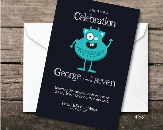 blue monster birthday party invitation by BeePrintDesigns on Etsy