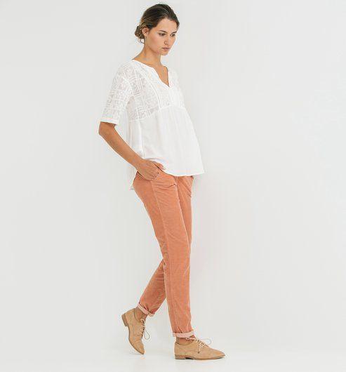 Pantalon chino velours Femme