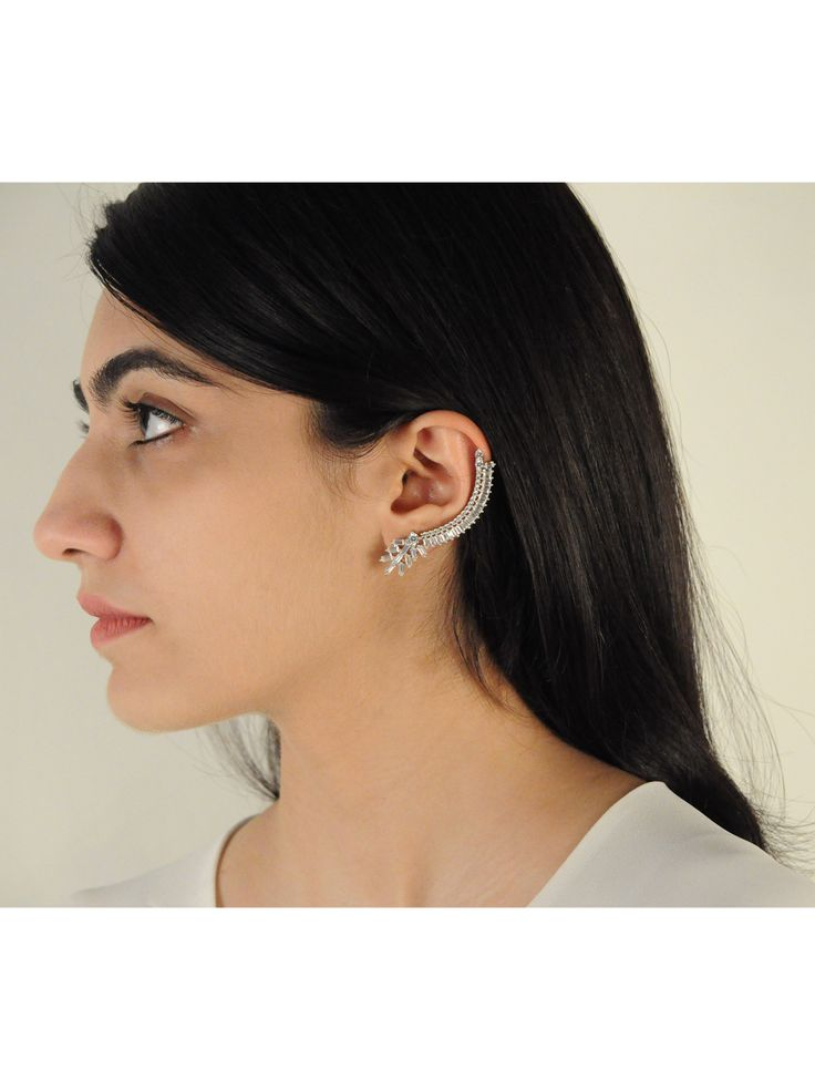 Hera Ear cuff -  INR 2,899 - This Ear cuff features high quality baguette crystals and is made in superior finish. The pair is worn with a small stud on one ear and a statement cuff on the other. We love this edgy pair and strongly recommend it for your cocktail hours or best friend's wedding.