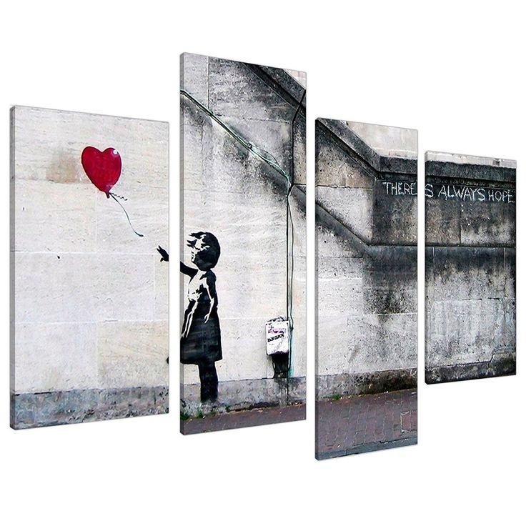 Extra large banksy canvas prints balloon girl 130cm xl red set 4050 artdeco