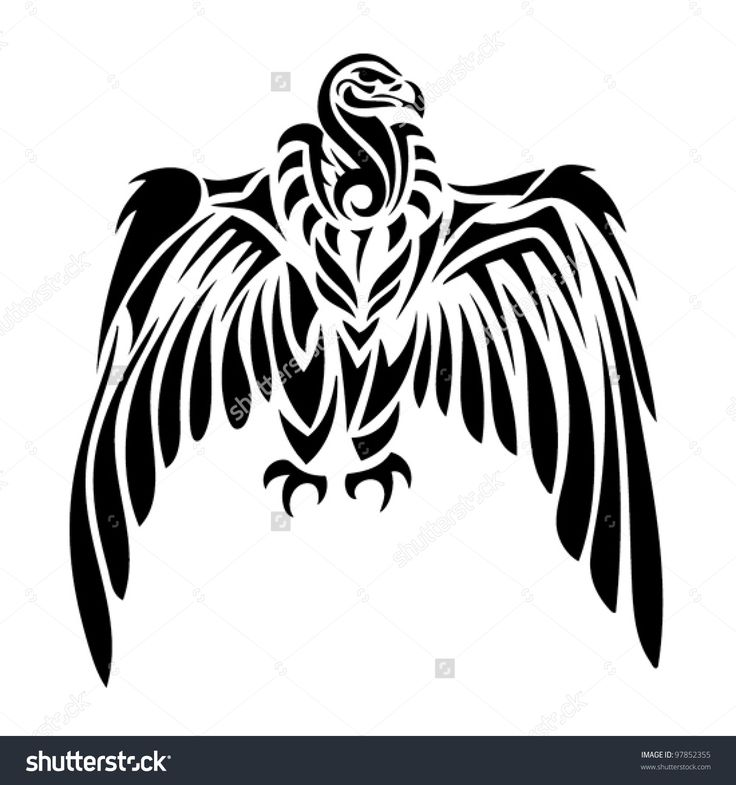 Tribal Vulture - Tattoo Stock Vector Illustration 97852355 ...