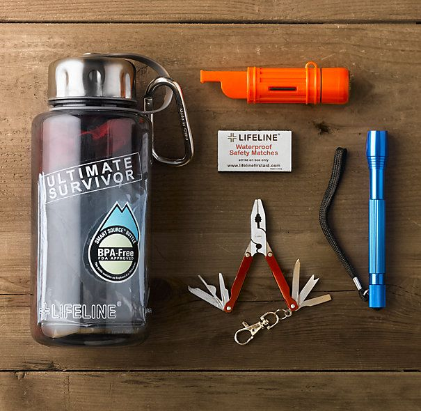 Water bottle survival kit: no longer available from this manufacturer, but easy to replicate. 32-oz. BPA-free water bottle, carabiner, multifunction tool, multifunction whistle/compass, 20-pc. First-Aid kit, mini flashlight and batteries, survival blanket, hand-warmer packets, tea candle, waterproof matches, emergency poncho and reusable zipper-lock bag