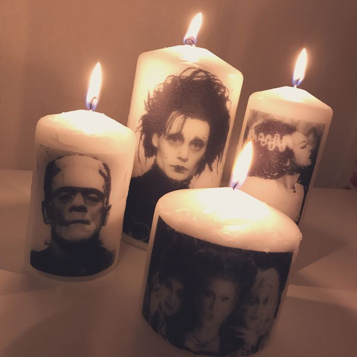 Hand made Halloween candles with my favourite characters on them  Edward scissor hands, hocus pocus. Frankenstein and his bride