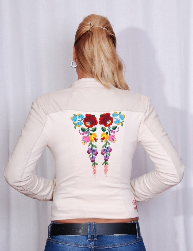 Hand-embroidered leather jacket. ;)
