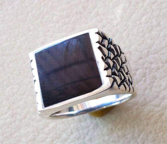black onyx enamel square man ring sterling by AbuMariamJewels