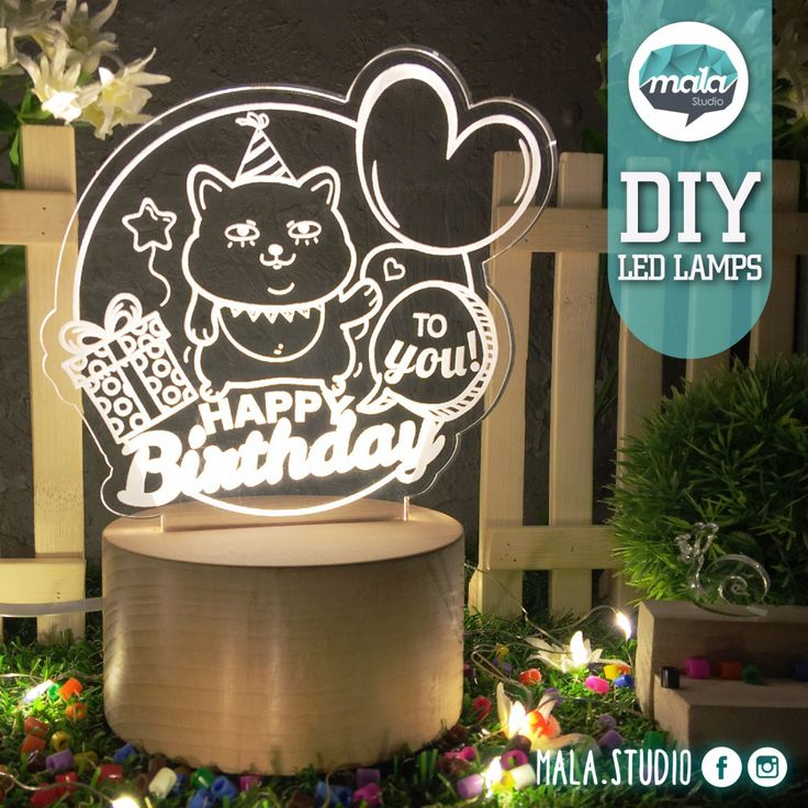 Birthday Led Lamp/Cat/Portable LED Lamp/Wireless LED Lamp/Desk Lamp/LED Light/Night Light/Mordern Light/Colour Changing Light/ by MalaStudio on Etsy