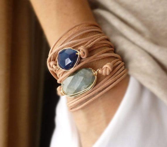 Chunky Gemstone Boho Long Leather Wrap Bracelet with Labradorite