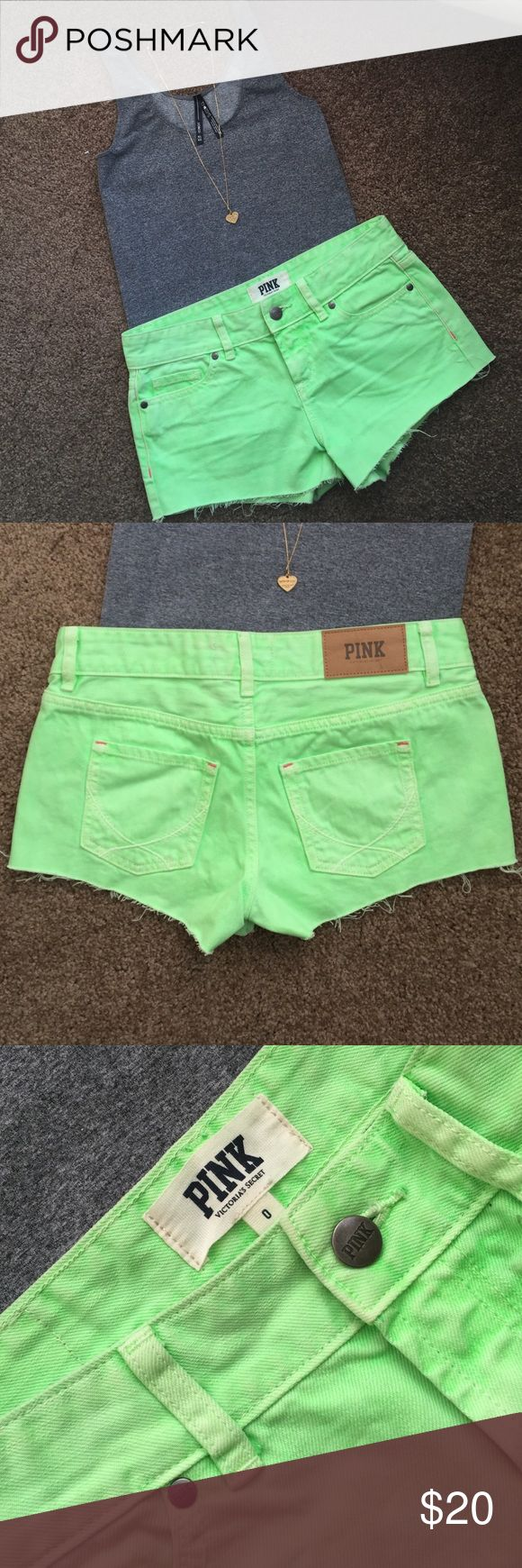 Victoria Secret Neon Green Shorts Worn VS Pink brand neon green shorts. Add a fun pop of color to any outfit. Great for summer time. Small pen mark on bottom left of shorts. In good condition. Victoria's Secret Shorts Jean Shorts