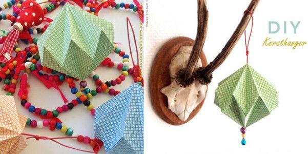 Palla di Natale origami fai da te  Ormai ci siamo, è la vigilia di Natale e gli addobbi sono ormai pronti da giorni ma probabilmente dovete ancora finire di impacchettare i vostri doni e dunque ecco un'idea originale per realizzare un bel fermapacco a forma di pallina origami. Vi servirà solo della carta colorata e un po' di filo, andrà bene anche della lana. L'idea viene da Moodkids, un blog olandese che spiega come procedere con un tutorial fotografico davvero sem