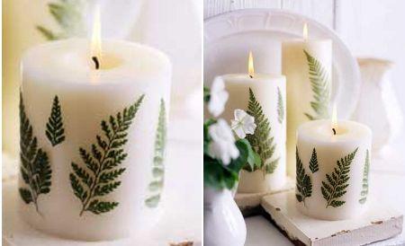 Hermosas velas decoradas con helechos