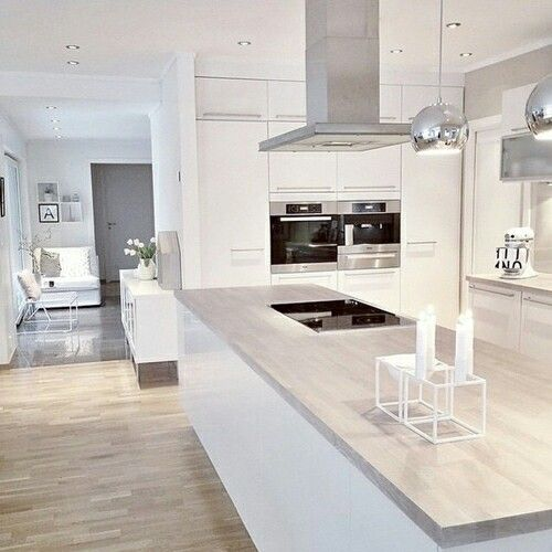 Grey and white kitchen