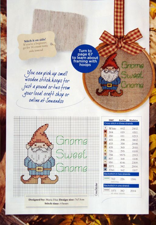 'Gnome Sweet Gnome' by Maria Diaz, Cross Stitcher No. 250, March 2012