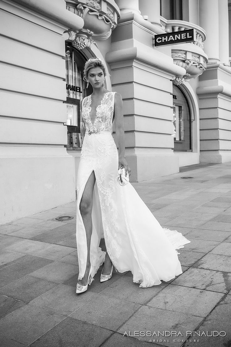 alessandra rinaudo 2017 bridal sleeveless illusion boat deep plunging neck line heavily embellished bodice slit down the middle a  line wedding dress lace back chapel train (brianna) mv