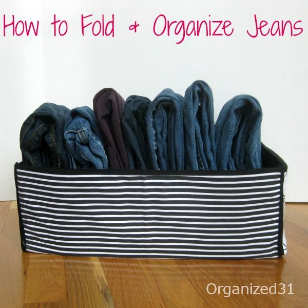 How To Fold and Organize Jeans : saves space and makes them tidy & easy to grab.