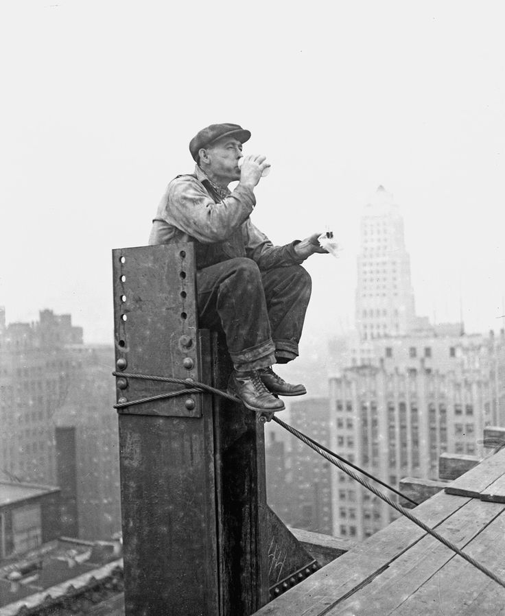 """A construction worker on the frame of the One LaSalle Street building, Chicago, Illinois, 1929."" / Photograph by the Chicago Daily News at the Chicago History Museum"