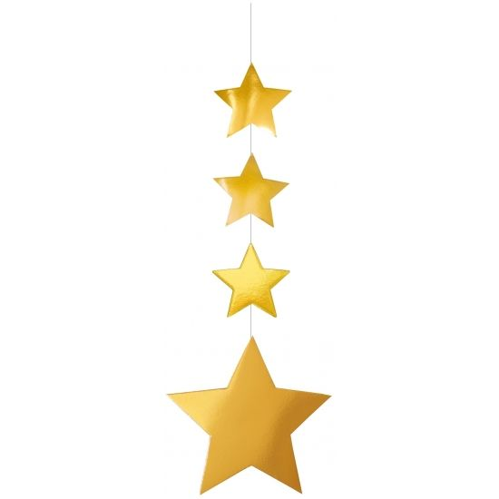 Hangslinger gouden sterren 130 cm. Gouden hangslinger met sterren. Deze slinger is brandvertragend en heeft een formaat van 130 x 45 cm.