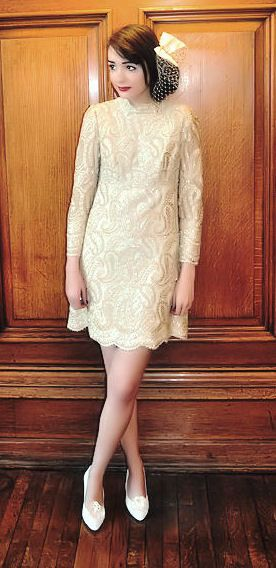 SALE  1960's MOD Wedding Dress with Stunning Gold/Cream Metallic Paisley Detailing Size Small. £85,00, via Etsy.