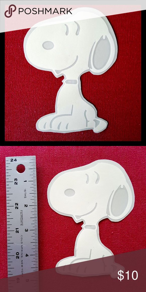 Peanuts Snoopy Vinyl Decal Sticker Homemade by me! Nice, white Snoopy vinyl decal sticker works great for cars, windows, laptops, iPads, skateboards, & smooth, flat surfaces. Guaranteed to be water proof, heat resistance & UV fade resistance. How to apply: Clean the surface before applying! Remove the transfer tape and stick it on. Then, rub a coin liberally by getting to all areas of the sticker. Carefully remove the transfer tape. Peanuts Accessories