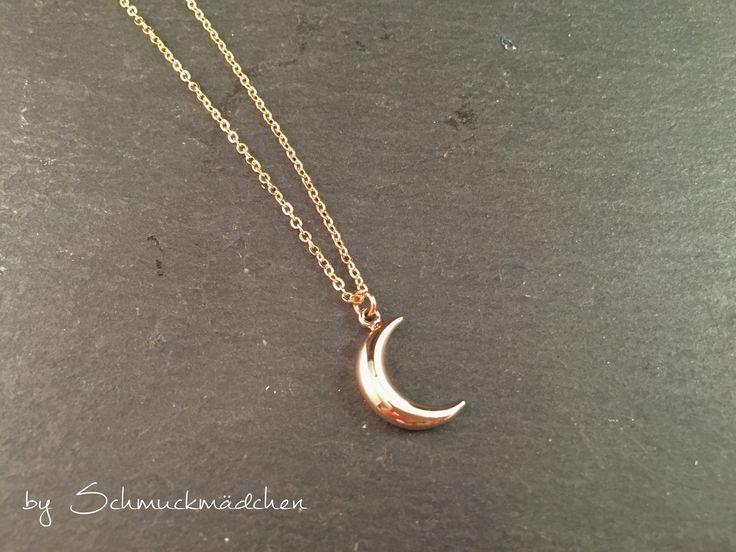 Kette Roségold Schlicht Mond