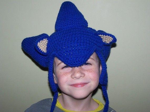Sonic the Hedgehog Earflap Hat by mama24boyz on Etsy, $5.00
