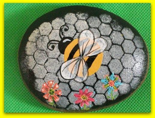 Bumblebee Handpainted Rock Whimsical by thREegreenart on Etsy, $20.00