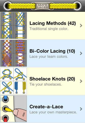 Ian's Shoelace Site:  Learn 37 different ways to lace shoes, 18 different ways to tie shoelace knots & many other tips. iPhone/iPad app as well. Click on picture to go to Ian's site.