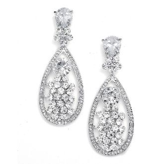 Magnificent Crystal Teardrop Wedding or Pageant Earrings