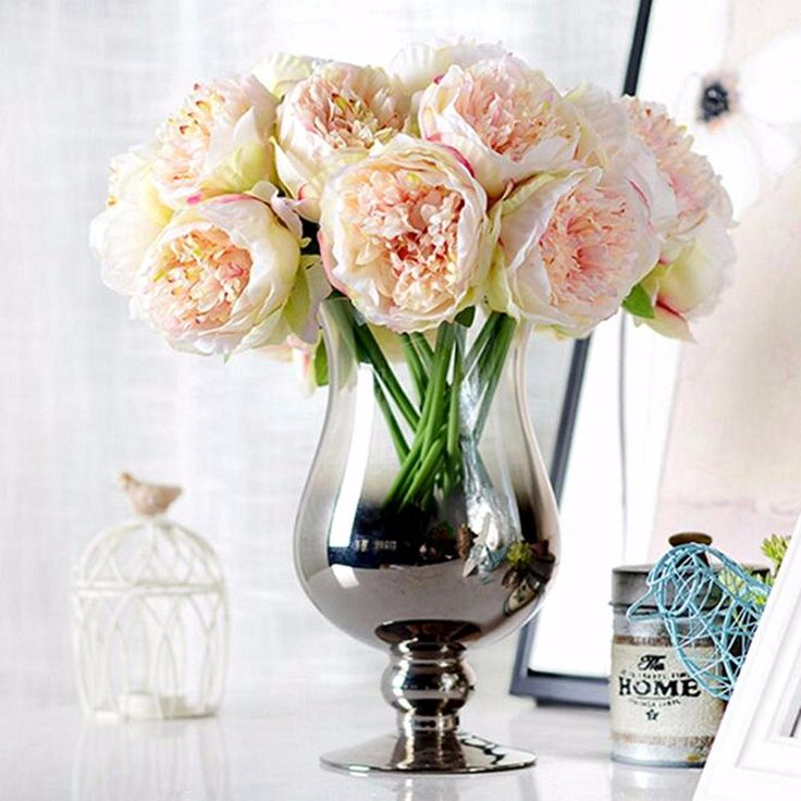 5 Heads Artificial Silk Peony Flowers Wedding Bride Hydrangea Bonquet Home Bedroom Decoration