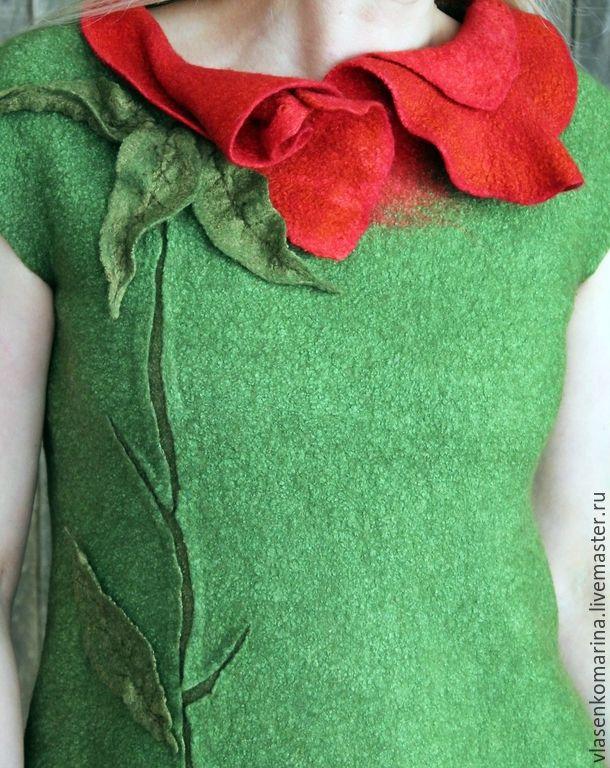 Купить Платье валяное Экзотический цветок - зеленый, цветочный, платье валяное, зеленое платье