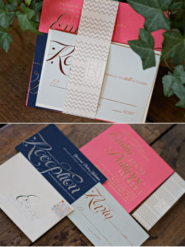 pink and navy: Calligraphy Fonts, Gold Silver, Chevron Invitations, Wedding Invitations, Colors Combinations, Gold Wedding, Coral Navy, Navy Pink And Silver Wedding, Silver Coral