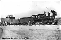 Image No: NA-1167-10 Title: First train to reach Cardston, Alberta. Date: June 24 1904 Remarks: West end of St. Mary's River Railway (narrow gauge). Locomotive 13, Alberta Railway and Coal Company and was originally locomotive 1, North Western Coal and Navigation Company.