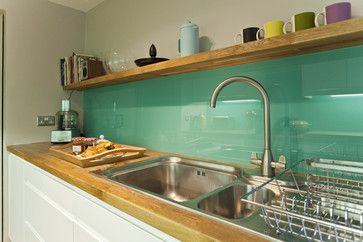 colored glass backsplash idea 25 + Great Kitchen Backsplashes at Remodelaholic #kitchen #backspash_ideas