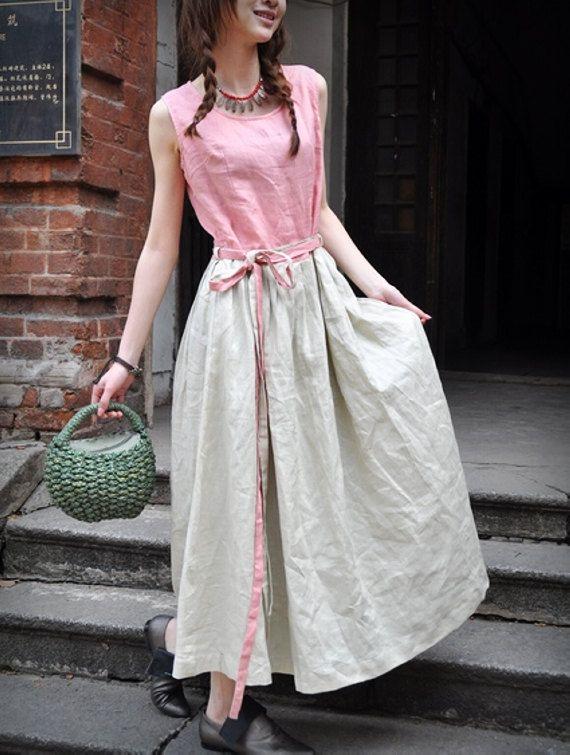 Maxi Linen Dress/ Long Bridesmaid Dress Sundress - Made to order. $69.00, via Etsy.