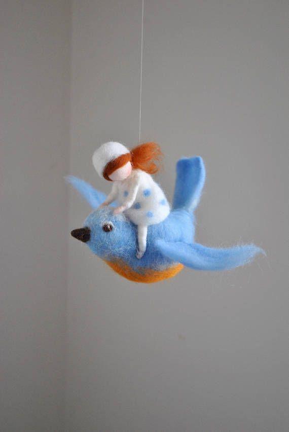 Blue Bird mobile /wool decoration /WaldorfiInspired wall