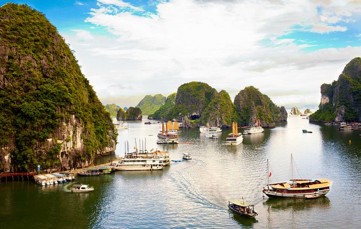 Halong Bay is a 580-square-mile natural cove containing some 2,000 limestone islands, all occupied only by trees, ferns, birds, and monkeys. It is these peaks�some of them cragged and hewn by years of erosion into fantastic shapes�that have inspired centuries of Vietnamese poetry and paintings.