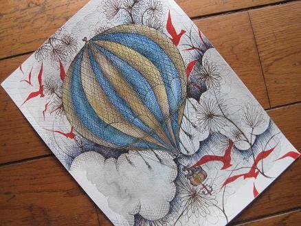 vintage style hot air baloon original drawing/painting. $30.00, via Etsy.